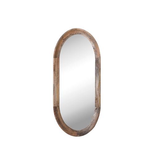 Oval Mango Wood Framed Wall Mirror