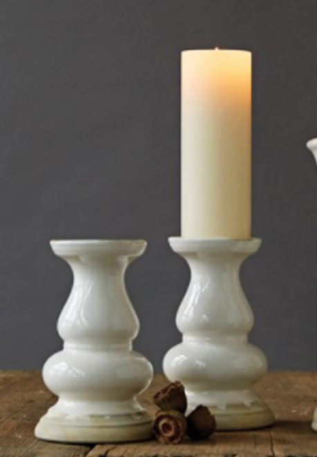 "12-1/4""H Stoneware Candle Holder, White"