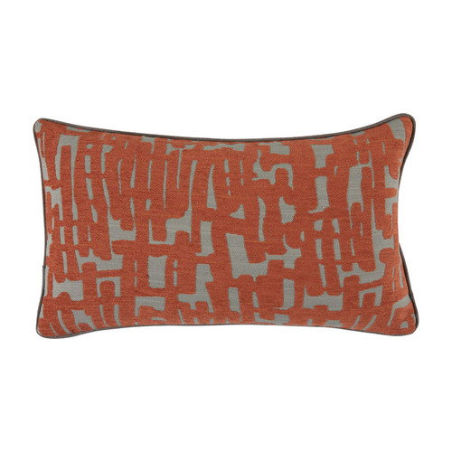 Abstract 14x24 Pillow-Abstract Terra Cotta with Terra Cotta Velvet Backing and Linen Mushroom Flat Welt