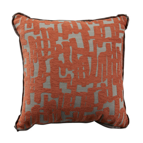 Abstract 20x20 Pillow-Abstract Terra Cotta with Terra Cotta Velvet Backing and Linen Mushroom Flat Welt