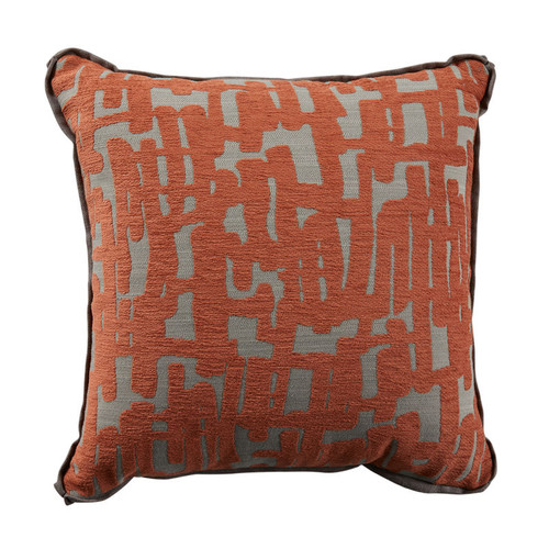 Abstract 24x24 Pillow-Abstract Terra Cotta with Terra Cotta Velvet Backing and Linen Mushroom Flat Welt
