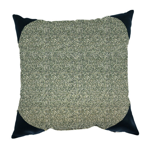 Boucle Shimmer 24x24 Pillow - Pepper With Boucle Pepper Backing And Black Onyx Corner Cap