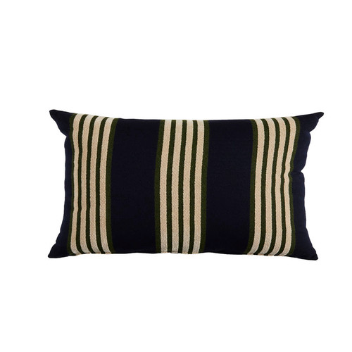 Bradford Stripe 14x24 Pillow-Navy And Mallard With Almond Backing And Knife Edge