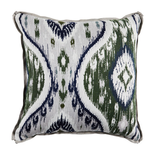 Manado Ikat 24x24 Pillow-Pewter And Mallard With Linen Dove Backing And Verona Pewter Flat Welt