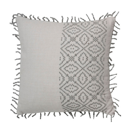 "Tribal Stripe 20x20 Pillow-Pewter With Linen Dove Backing And Pewter 2"" Rope Loop Trim"