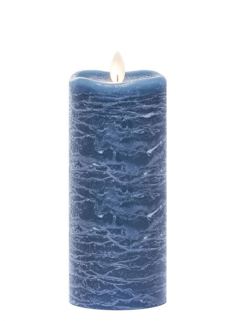 "Frosted Rustic LED Pillar Candle, 3""L x 3""W x 7""H, Aegean Blue"