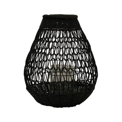 "13"" Round x 18""H Hand-Woven Rattan Lantern with Glass Insert, Black"