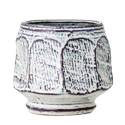 "6"" Round x 5.75""H Stoneware Planter, Reactive Glaze, Blue & White"