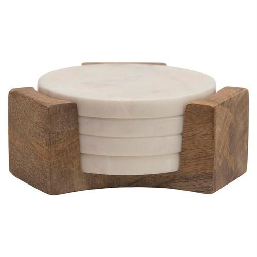 """5"""" Round Marble Coasters w/ Mango Wood Holder, Set of 5"""
