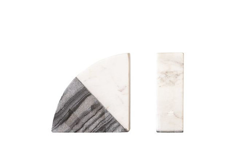 "5-1/2""L x 2""W x 5-3/4""H Marble Bookends, Black and White, Set of 2"