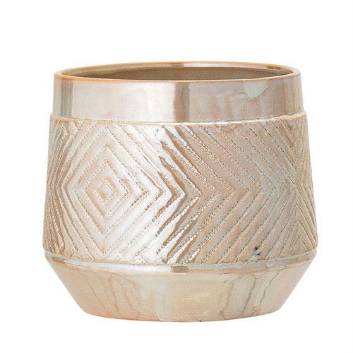 "7-1/2"" Round x 6-3/4""H Embossed Stoneware Planter, Pearlized Glaze"