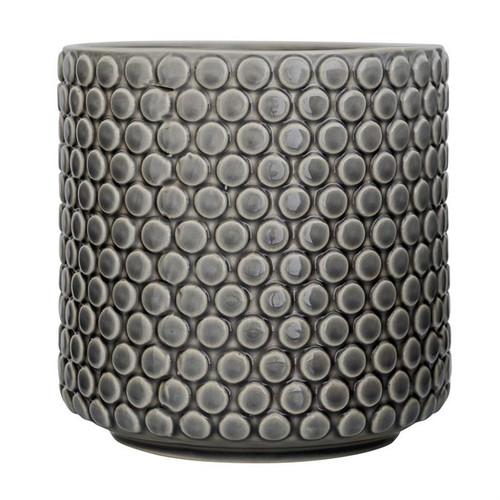 """6"""" Round x 6""""H Stoneware Flower Pot, Grey"""