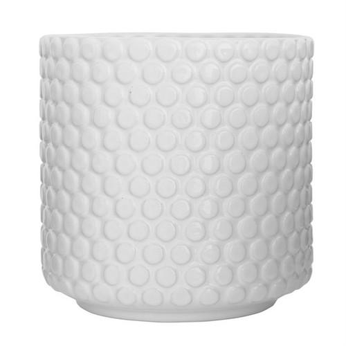"6"" Round x 6""H Stoneware Flower Pot, White"