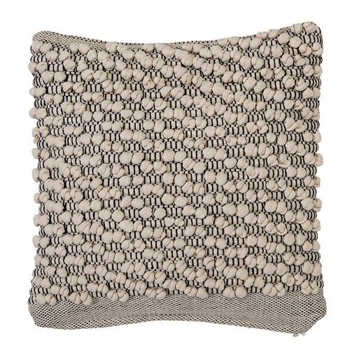 "18"" Square Cotton Pillow, Ivory & Grey"