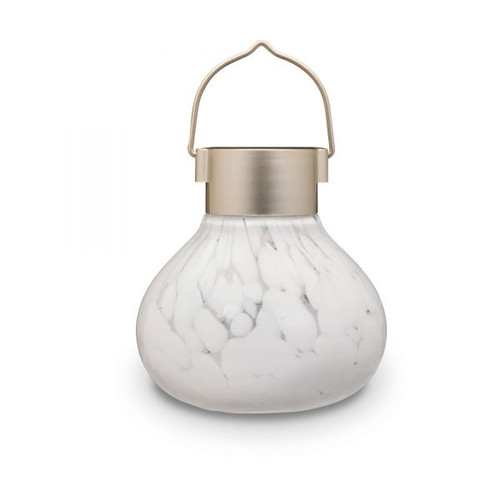 "4.5"" x 5"" Solar Glass Tea Lantern - White"