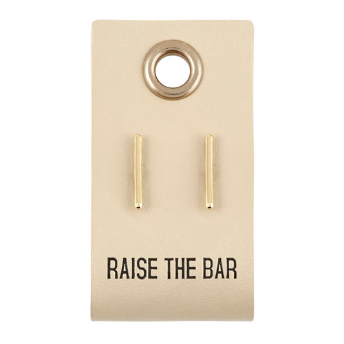 Leather Tag W/ Earrings - Bar