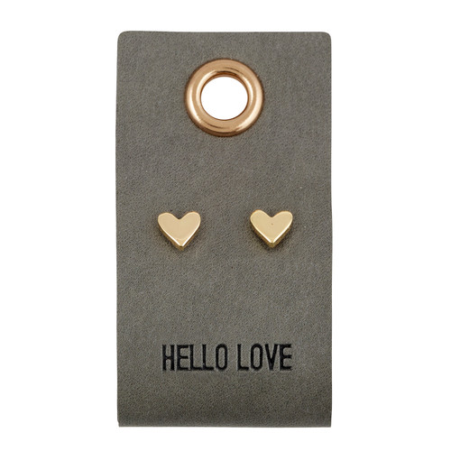 Leather Tag W/ Earrings - Heart