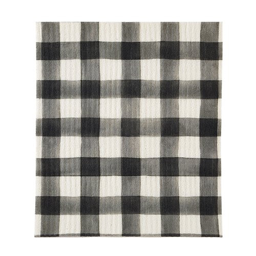 Organic Dishcloth - Black Buffalo Check