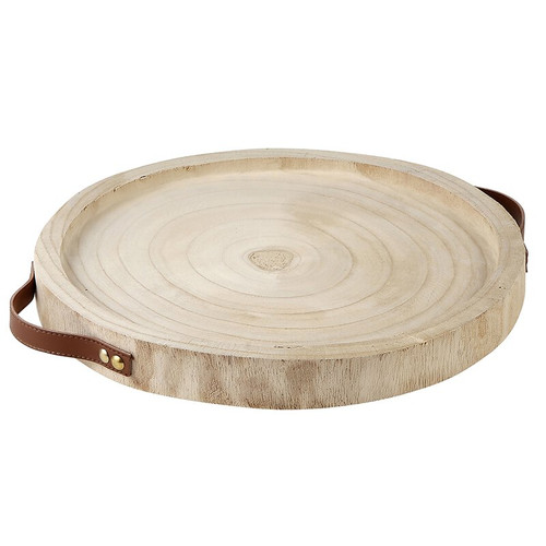 Paulownia Wood + leather Tray - Natural