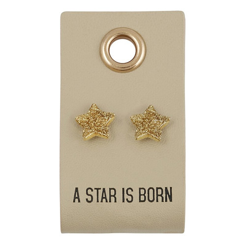 Leather Tag W/ Earrings - Star