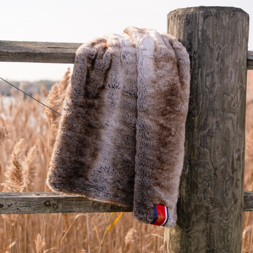 Faux Fur Lap Blanket, Sable Brown with Black Backing
