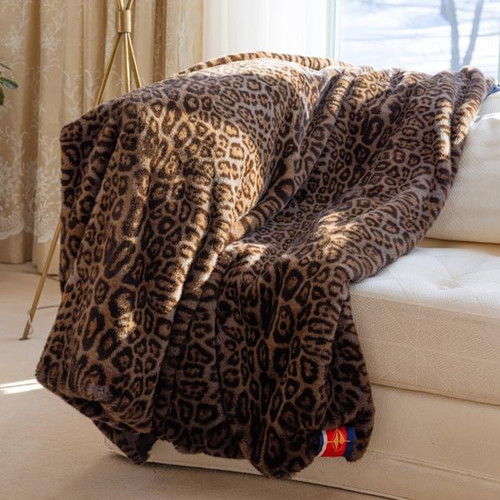 Faux Fur Throw Blanket, Grey Leopard with Black Backing