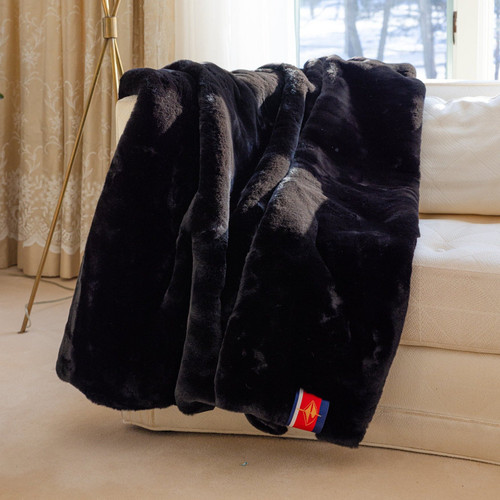 "Faux Fur Throw Blanket, Black Mink with Black Backing & ""07920""  Monogram"