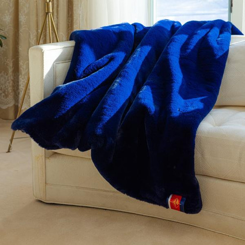 Faux Fur Original Blanket, Navy with Navy Blue Backing