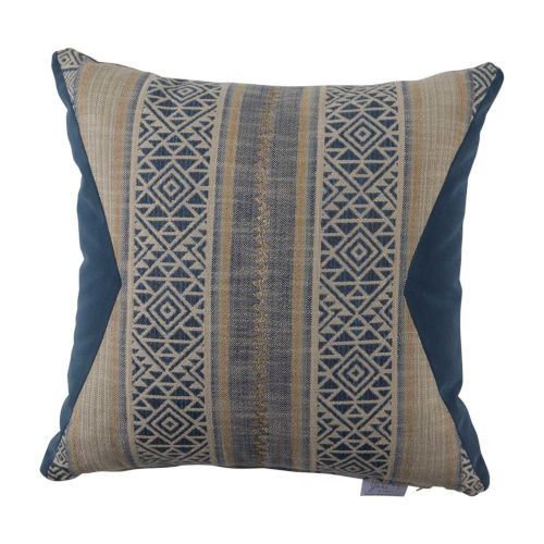 Aztec 20X20 Pillow - Indigo And Chambray Velvet With Verona Almond And Chambray Velvet Backing And Knife Edge