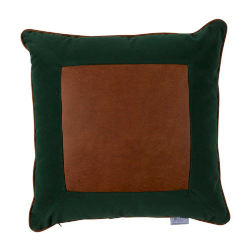 Lux Leather 20x20 Pillow - Mallard Velvet and Waylan Front with Mallard Velvet Backing and Waylan Welt