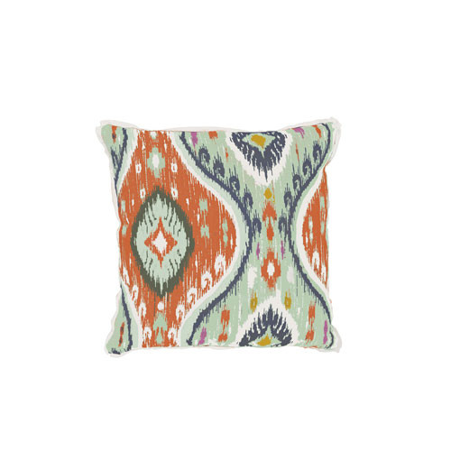Manado Ikat 20x20  Pillow - Mist And Cajun With Natural Backing And Mist Flat Welt