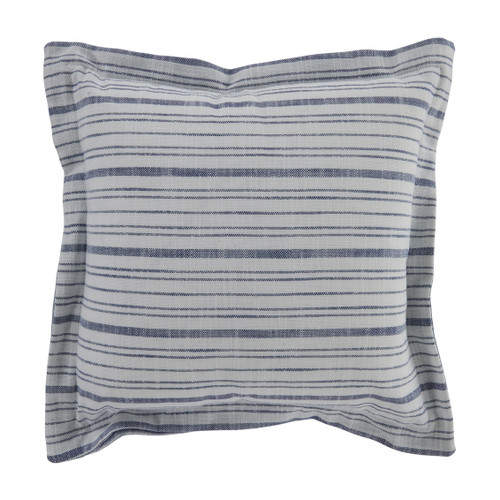 Stripe 20x20 Pillow - Linen Ticking Indigo Front and Back with Faded Linen Indigo Double Flange