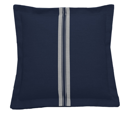 Vintage Stripe 20x20  Pillow-Navy With Navy Backing And Natural Double Flange
