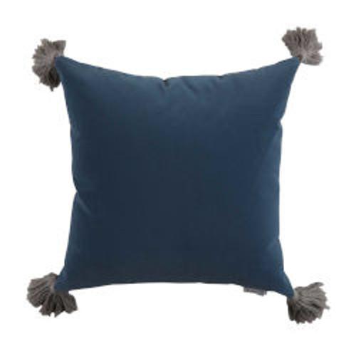 Chambray Velvet 24X24 Pillow - With Velvet Chambray Backing And Pewter Tassel