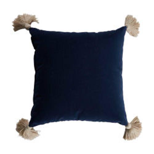 Navy Velvet 24x24 Pillow - With Navy Velvet Backing and Almond Tassel