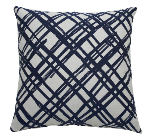 Slash 20 Inch Indigo Throw Pillow - Navy With Linen Snow Backing And Knife Edge