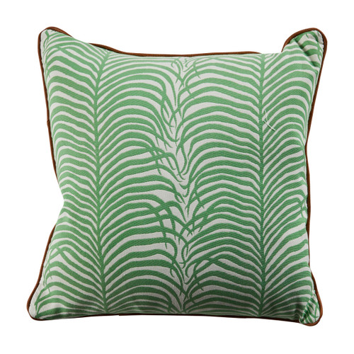 Summer Sulu 20x20 Throw Pillow - Emerald With Linen Snow Backing And Waylan Ultrafabric Welt.