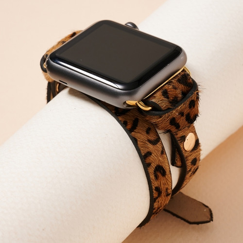 Animal Print Calf Hair Leather iWatch Band Small, Leopard Brown