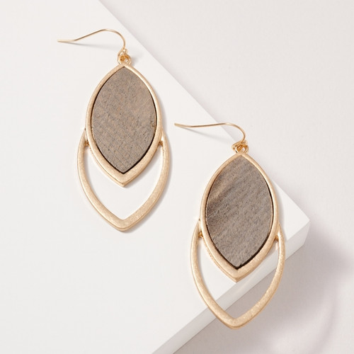 Layered Marquise Wooden Earrings, Light Grey