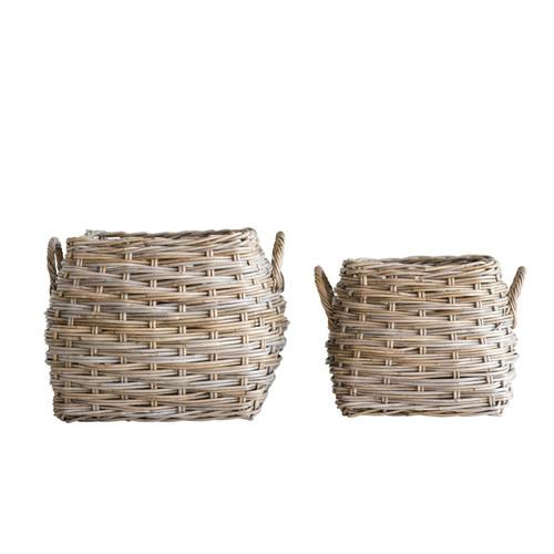 Natural Rattan Baskets w/ Handles