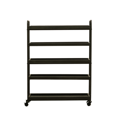 Wood & Metal 5-Tier Shelf on Casters, Black