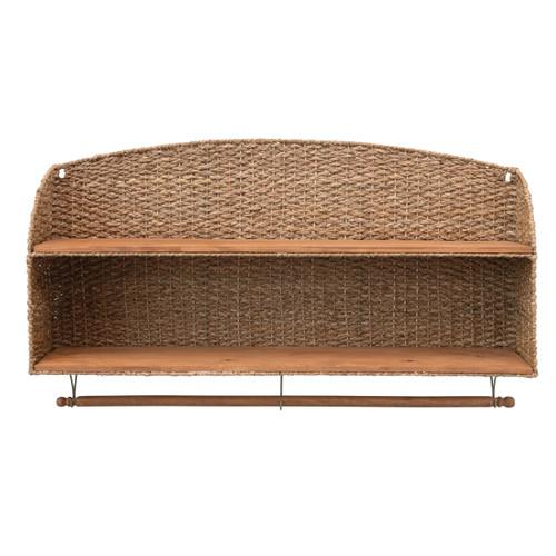 Woven Bankuan & Wood Wall Shelf w/ 2 Shelves & Removable Rod