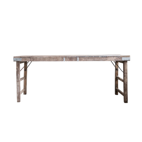 Reclaimed Wood Folding Table w/ Tin Patches