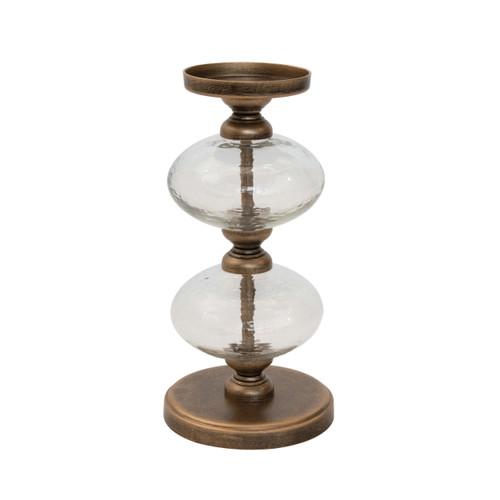 Metal & Glass Pillar Holder, Antique Gold Finish