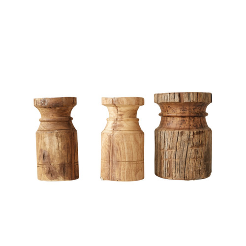 Found Wood Carved Candle Holder