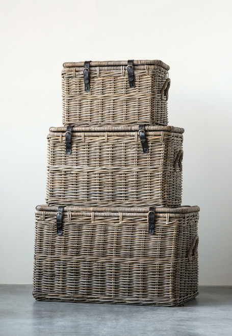 Natural Rattan Baskets w/ Lid & Leather Buckles
