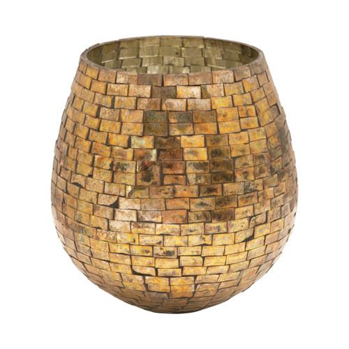 Glass Mosaic Votive Holder, Antique Gold Finish