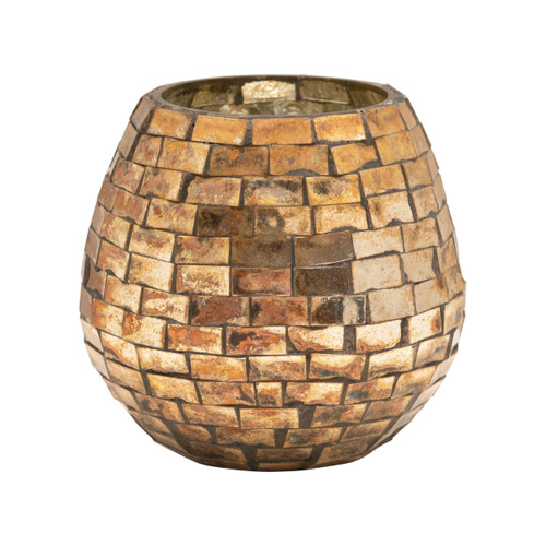 Glass Mosaic Candle Holder, Antique Gold Finish, Small