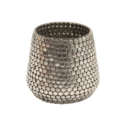 """3"""" Round x 3""""H Glass & Metal Mosaic Votive Holder, Pewter Color"""