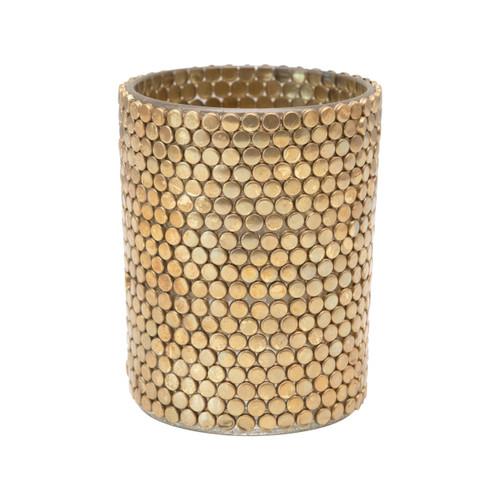 "3-3/4"" Round x 3-3/4""H Glass & Metal Mosaic Votive Holder, Gold Finish"